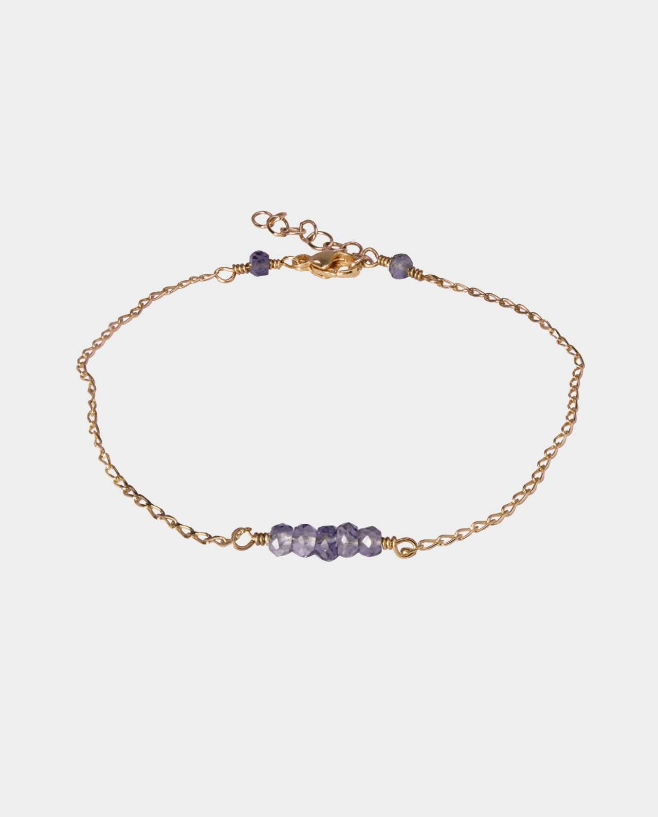 Handmade bracelet with iolites and sterling silver plated with 18 carat gold without nickel
