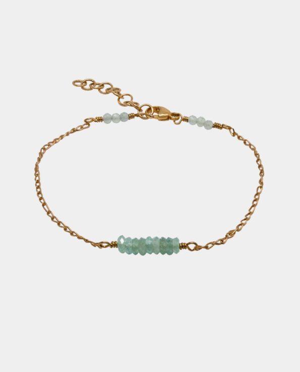 Håndlavet armbånd med antikt inspireret aventurin og sterlingsølv forgyldt med 18 karat guld uden nikkel