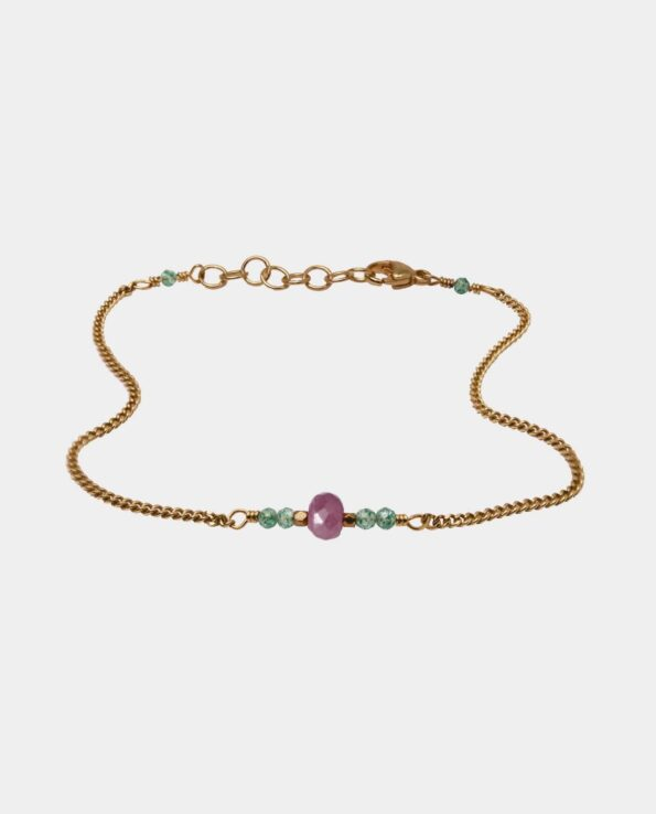 Bracelet with pink sapphire and green onyx in royal symmetrical union - jewelry for the woman who rests in herself