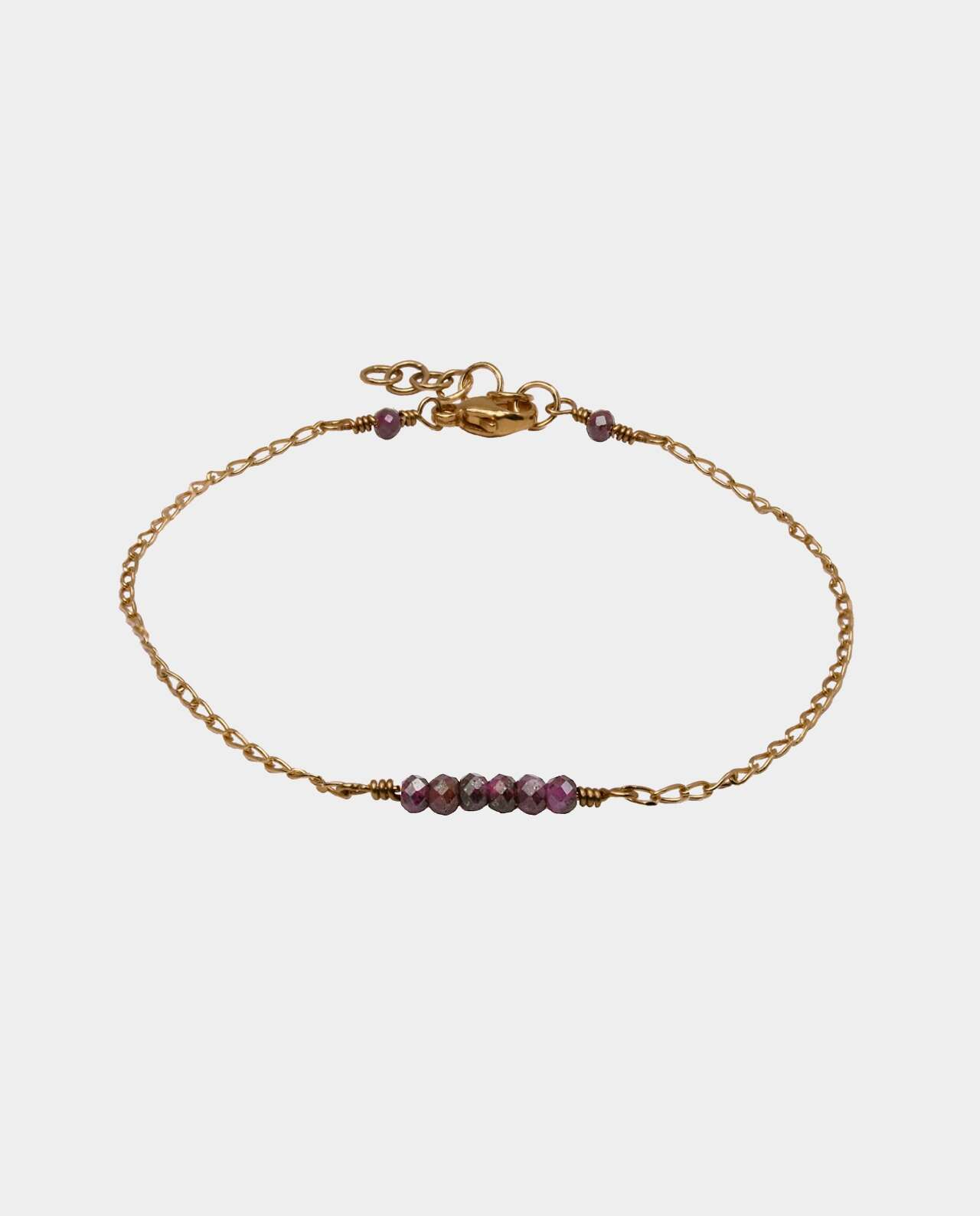 Handmade bracelet with rubies and sterling silver plated gold with 18 carat gold without nickel