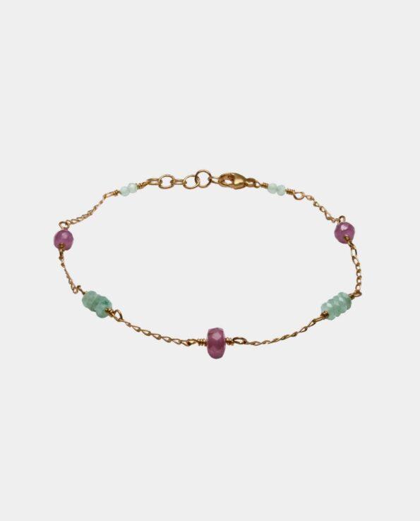 Håndlavet vintage armbånd med aventuriner og pink safir og sterlingsølv forgyldt med 18 karat guld