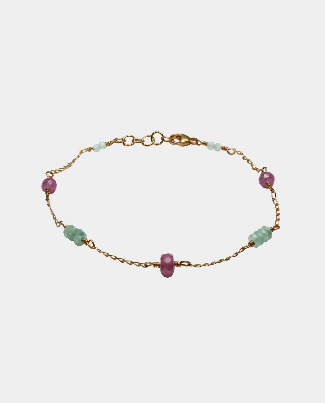 Handmade vintage bracelets with aventurins and pink sapphire and sterling silver plated with 18 carat gold