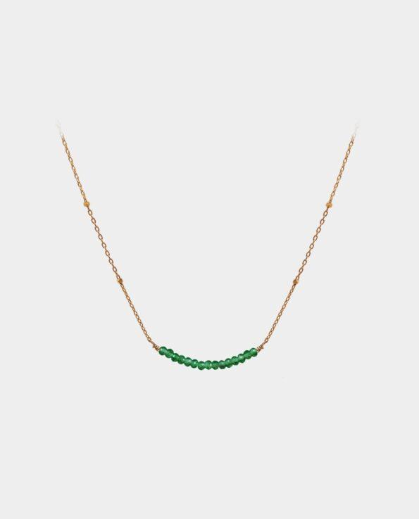 Håndlavet halskæde med grøn onyx som elegant følger din halslinje og fremhæver din personlighed