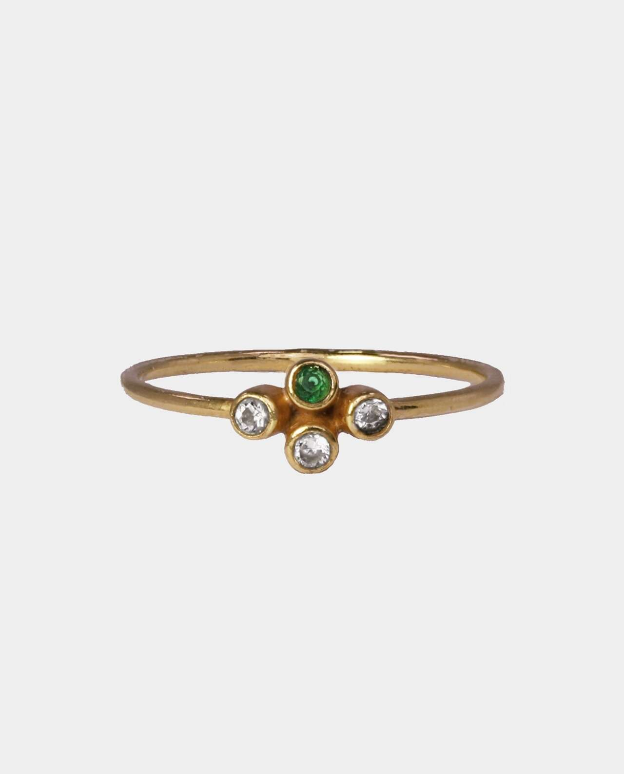 Classic ring with green and white zirconia that creates a spectra of babbling colors