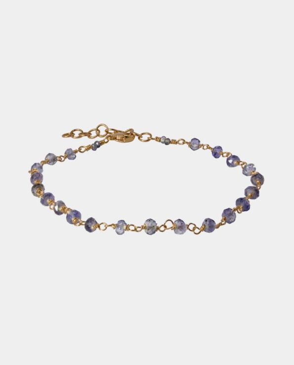 Handmade bracelet with a string of evocative iolites with a gentle enchanting radiance