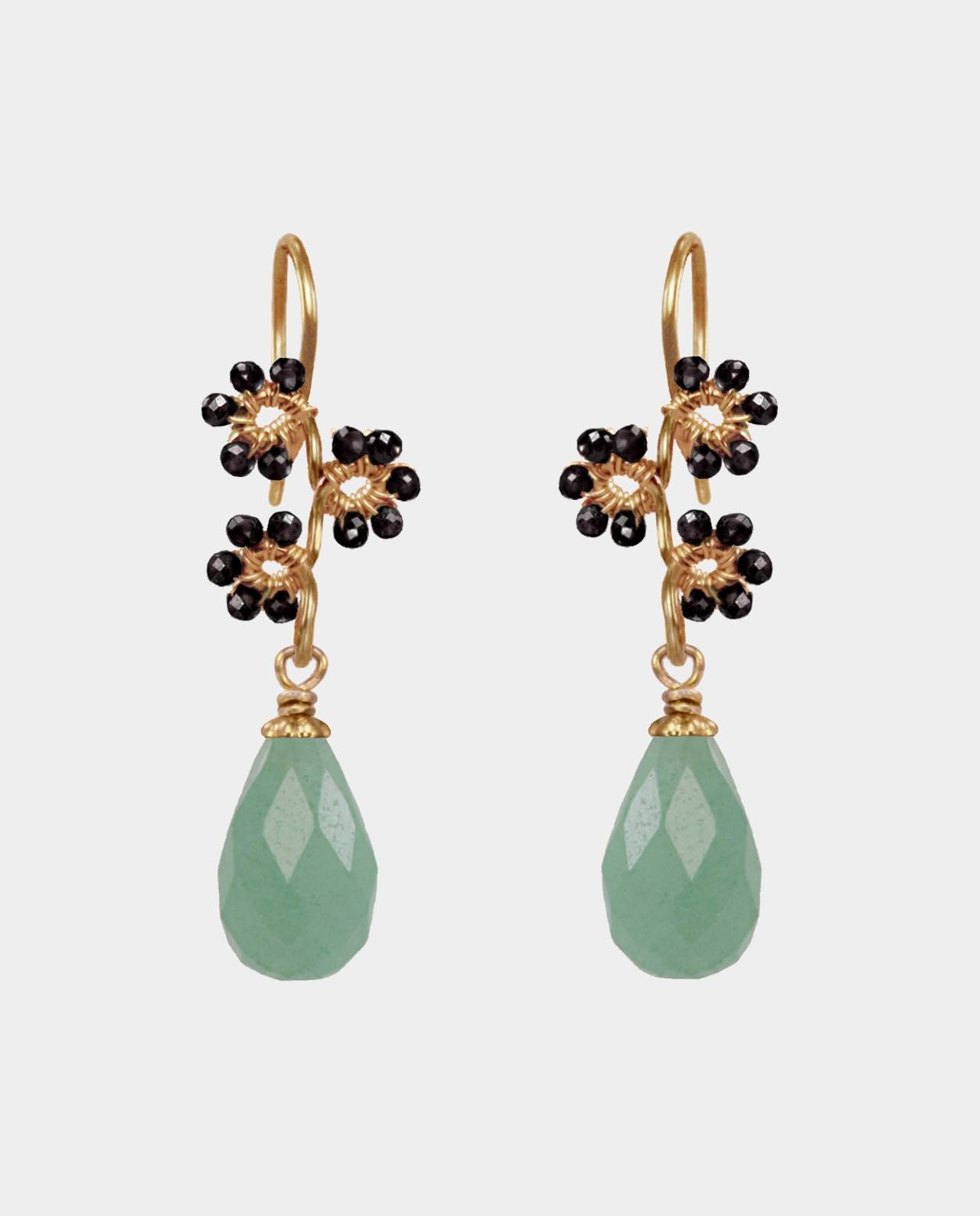 Earrings of droplet-shaped green aventurines decorated with black spinel in an excellent cut with sterling silver plated with 18 carat gold