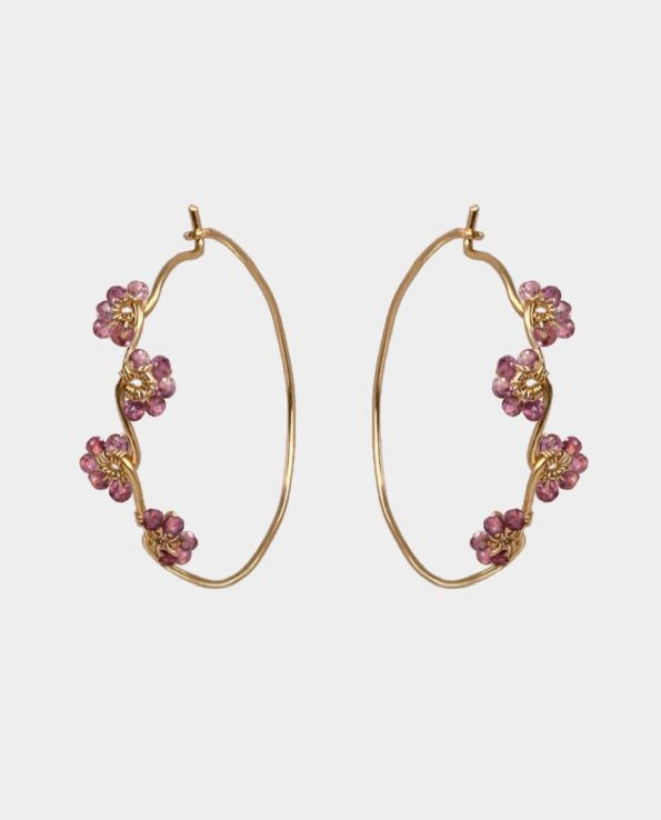Handmade vintage hoops with gemstone flowers highlighting your unique personality