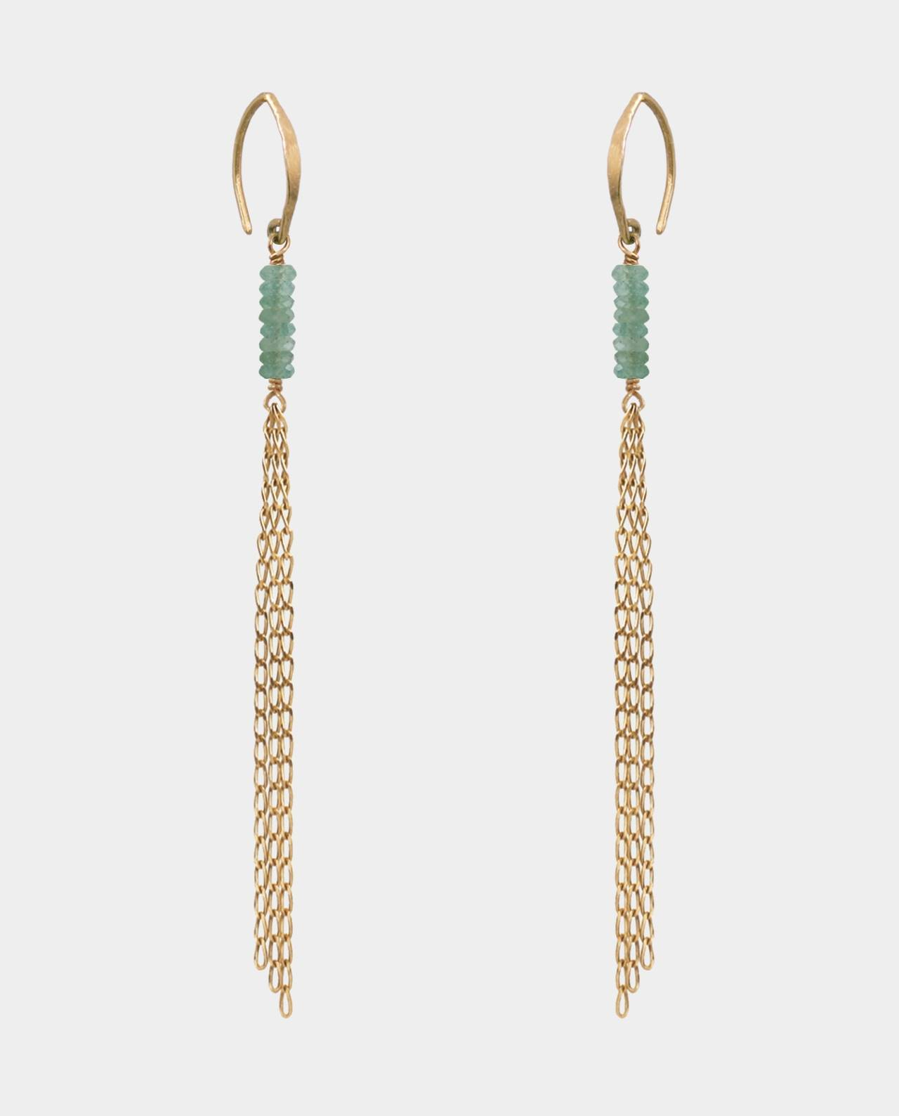 Hammered rustic ear hooks with aventurins on earhanger chains plated with 18 carat gold