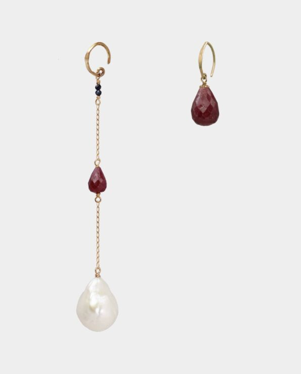 Rubies and pearls in original Danish design with personality and which are popular jewelry for party and everyday life