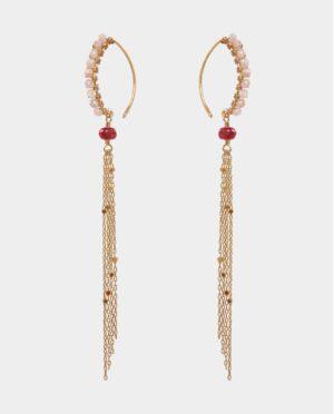 Øreringe med safirer og månesten i livagtigt blinkende kæder og holder stilen som favoritsmykke