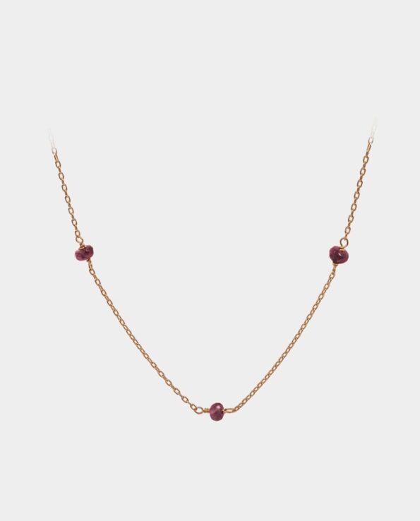 Halskæde med pink safirer i vintage design facetslebet efter oprindelig metode