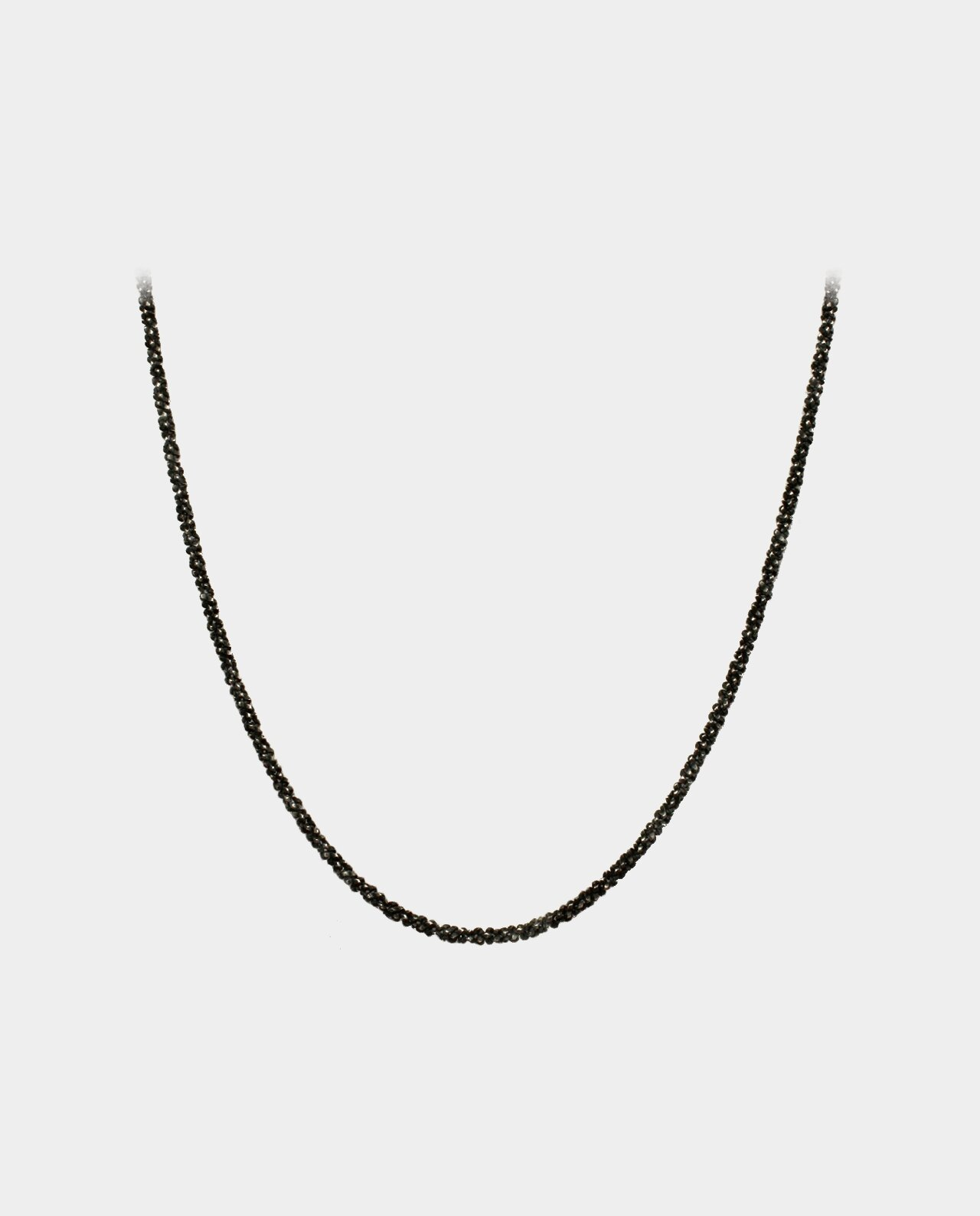 Necklace of twisted venezia with a different and stylish surface in shiny and black oxidized sterling silver