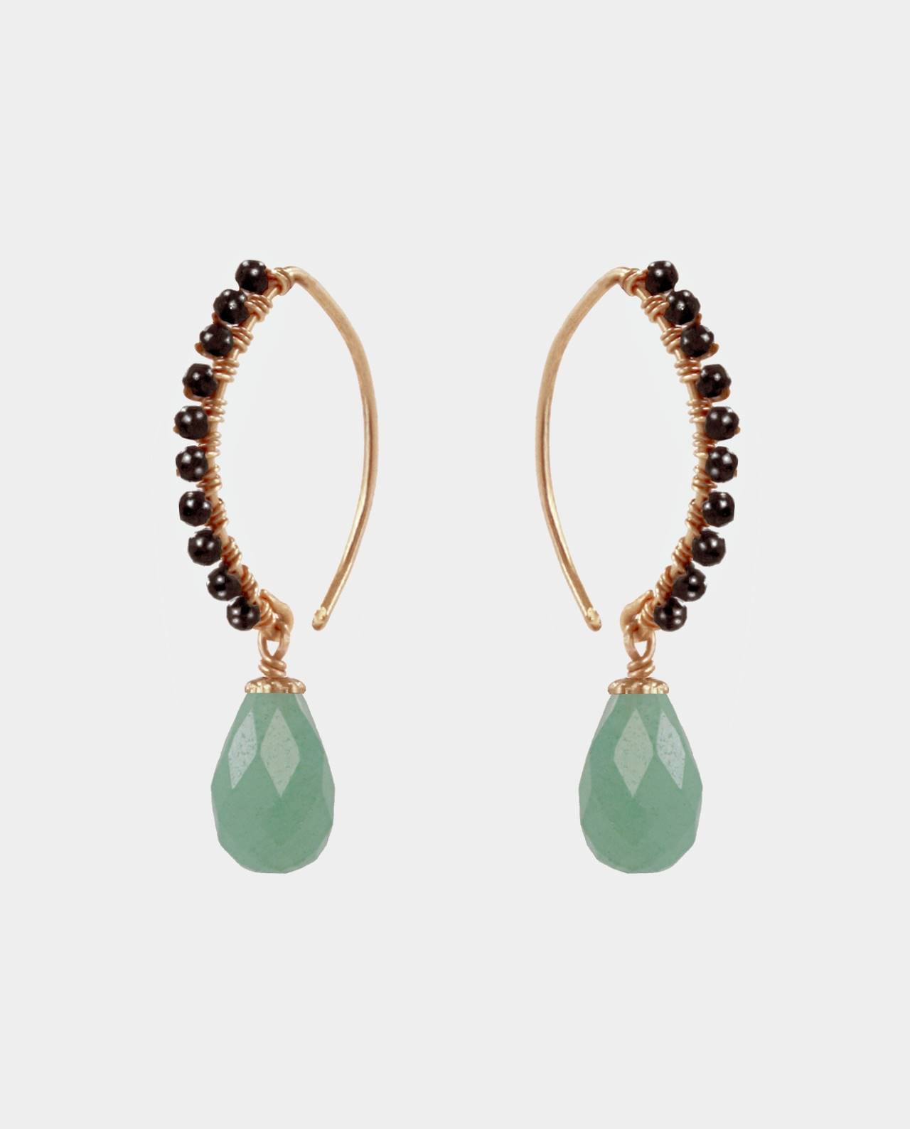 Handmade aventurine earrings with curved ear hook attached to bevelled black spinel gemstones