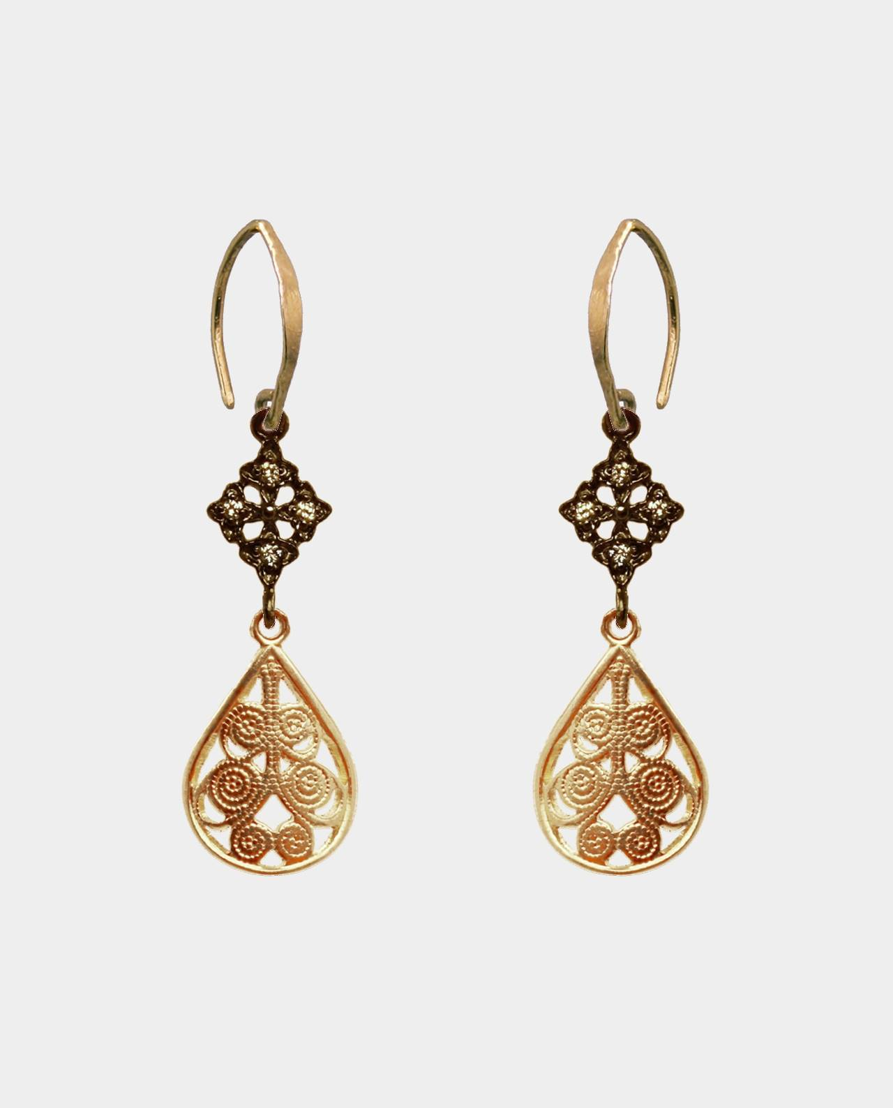 Earrings with zirconia crosses and rustic ear hooks and filigree ornamented pendants like the jewelers of Ancient Rome