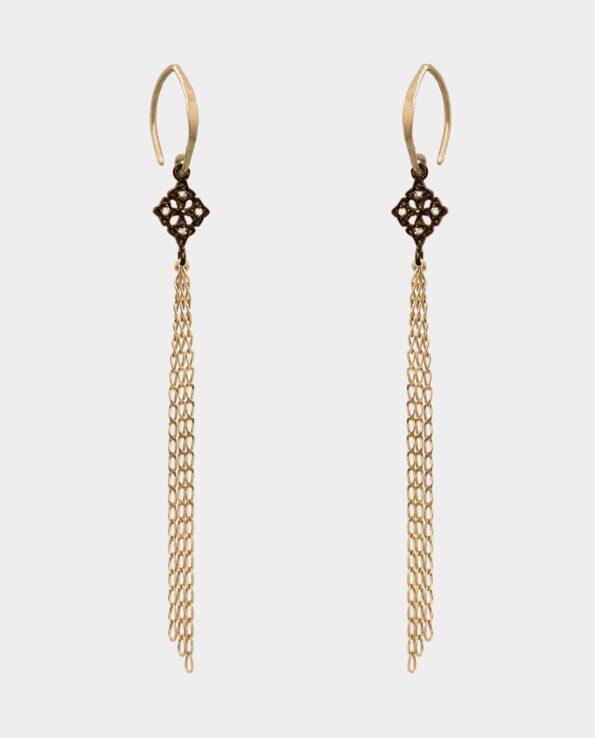 Øreringe med klassisk vedhæng med zirkoner der forener styrke og elegance samt smykkekæder i sterlingsølv forgyldt med 18 karat guld