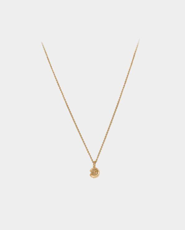 Halskædens forfinede konkylie vedhæng har en dragende effekt på alle smykkeelskere og harmonerer med andre minimalistiske halskæde og øreringe