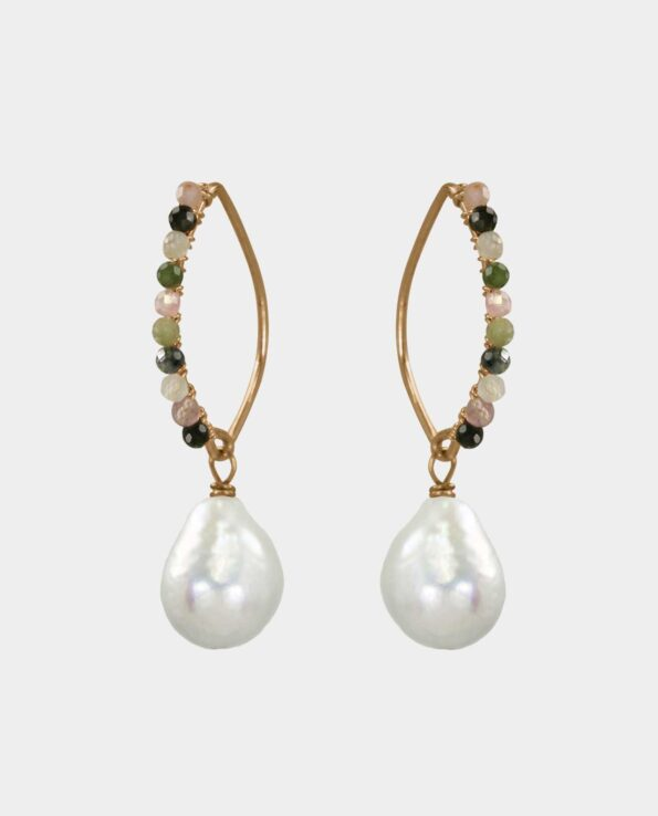 Adorable earrings with multi-coloured tourmalines and white baroque pearls that raise the standard for the design of handmade jewelry and gift you with a feminine beauty and are also a piece of jewelry that triggers the envy of your female friends