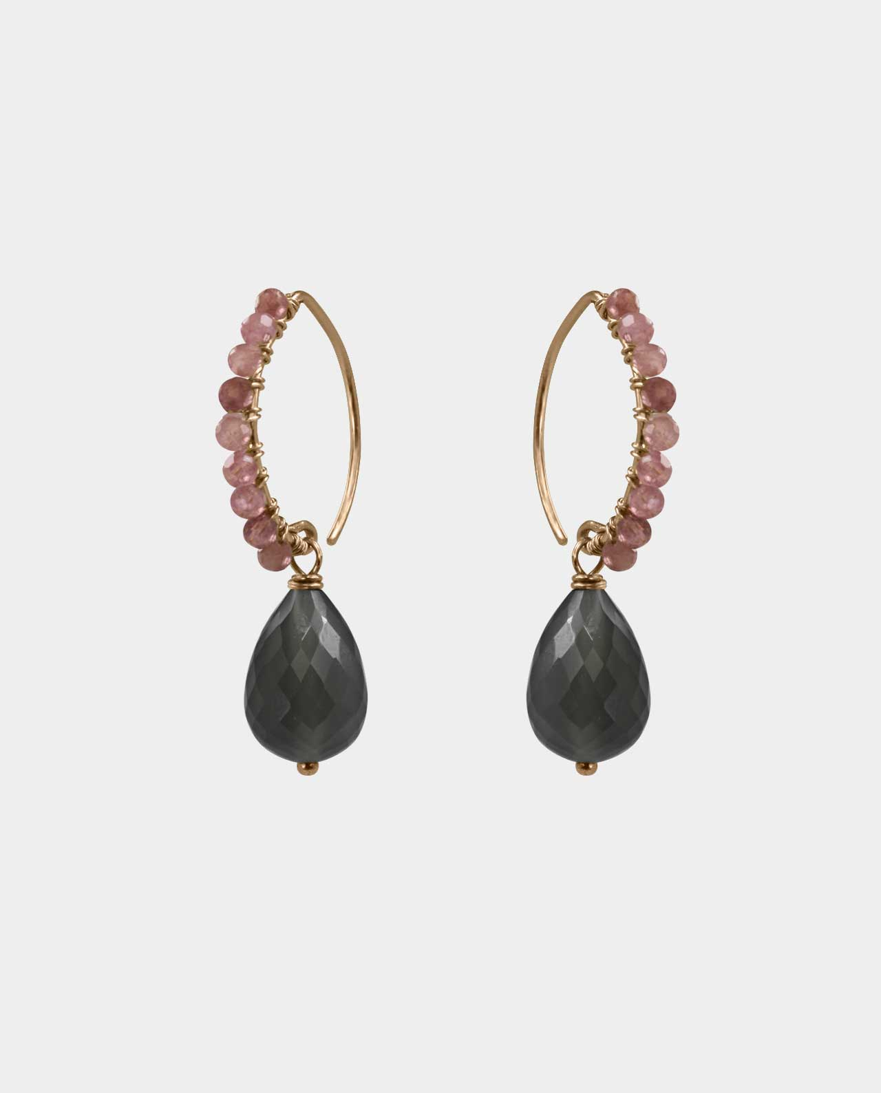 Earrings with grey moonstones and pink opals with a modern Scandinavian twist with an added element of glamour and a piece of jewelry that is on many girlfriends' wish list with real gold jewelry