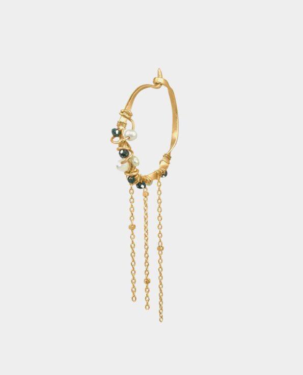 Øreringe med mørkeblå diamanter og perler der er som at besmykke sig med et lille smykke-kunstværk