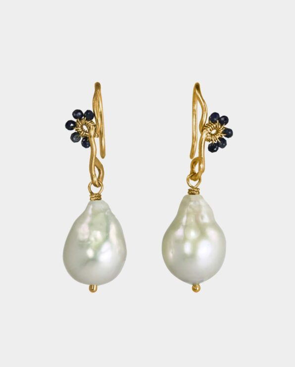 handmade and organic earrings of gold with baroque pearl and blue diamonds with rustic distinctiveness from shop in Copenhagen