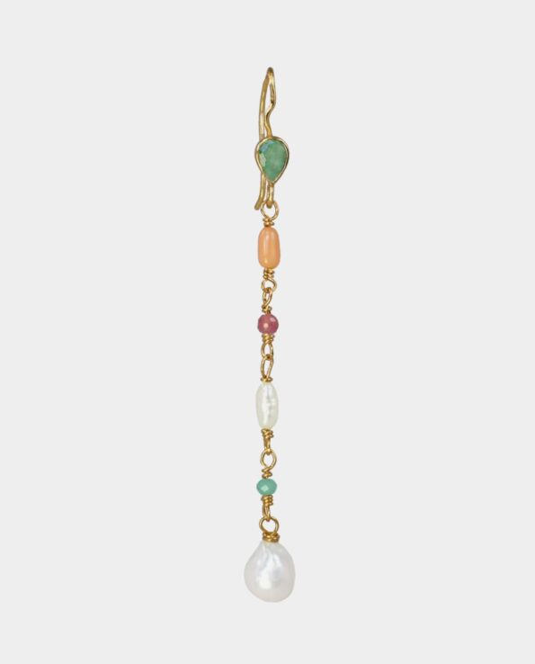 Long earring with light green emerald, encrusted aventurin, coral, white pearl and pink ruby from inner city