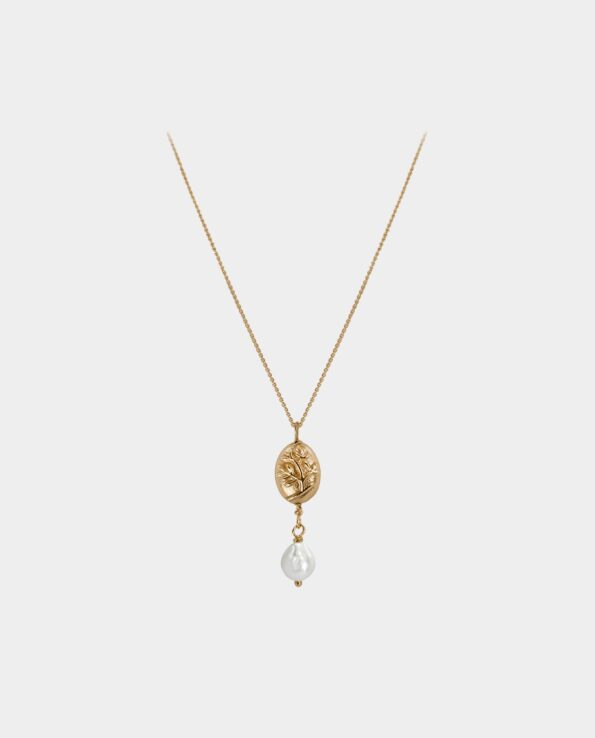 Chic handmade gold necklace with beautiful gold pendant decorated with a tree and droplet-shaped white pearl that draws all attention to your neck which means that the jewelry adds even greater beauty to your beautiful look