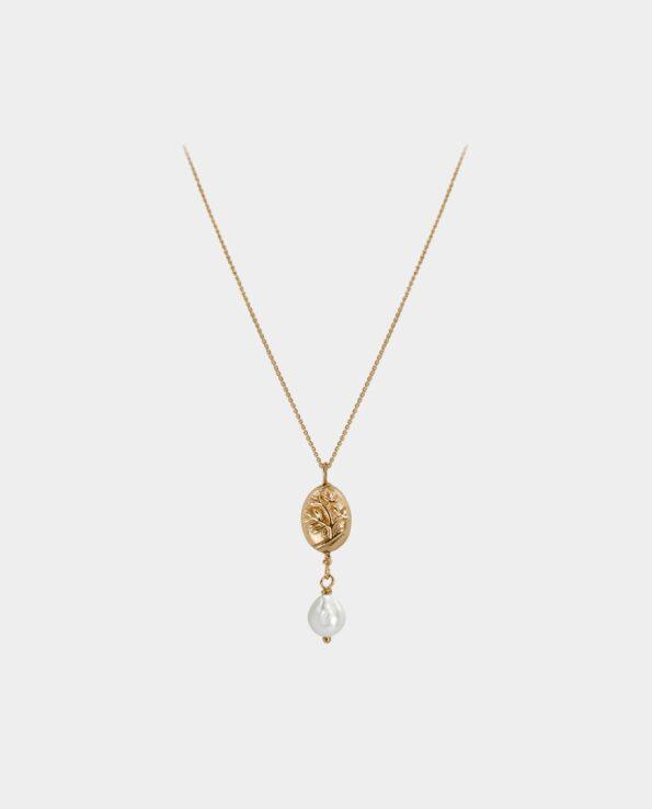 Smart håndlavet halskæde af guld med smukt guldvedhæng dekoreret med et træ og dråbeformet hvid perle der henleder al opmærksomhed på din hals som betyder at smykket tilfører dit smukke udseende en endnu større skønhed