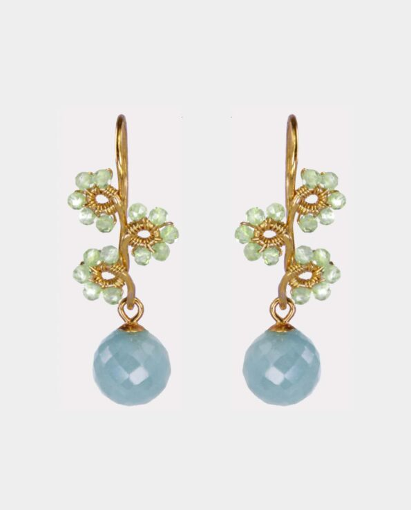 Classic earring in floral design with green peridot and sea blue aquamarine from the jewelry store in center of Copenhagen