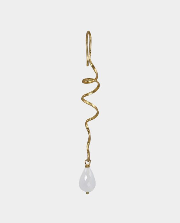 Artistically crafted earring that winds around itself in spiral with grey moonstone can be purchased in Copenhagen