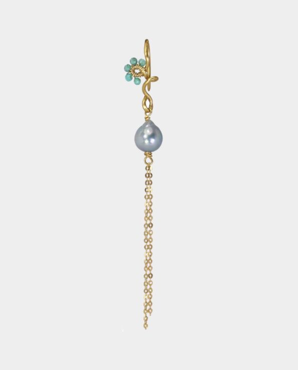 Gold earrings with bright emeralds and silver pearl with gold chains from inner city store