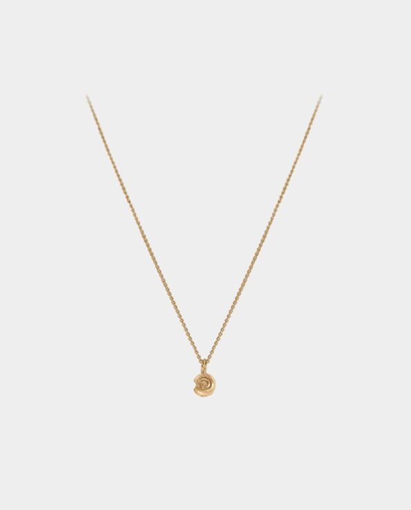 The necklace's refined snail shell pendant has a compelling effect on all jewelry lovers and is in tune with other minimalist necklaces and earrings