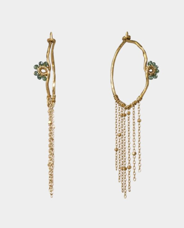 Creoles of 18 carat gold with green diamonds from the jewelry shop in Copenhagen - the gift for your loved one