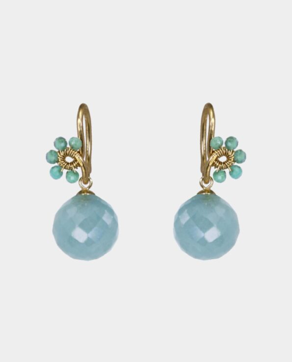 Gold earrings with small emeralds and blue aquamarine for the party or as a gift - is bought in jewelry store by Rundetårn