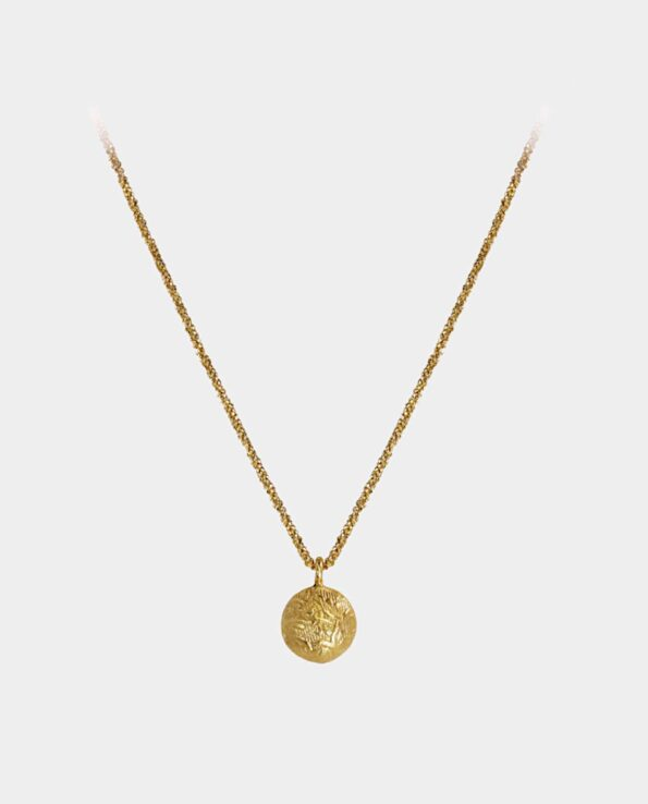 Lovely small heavy medallion in necklace in Danish design with motif of trees from inner city