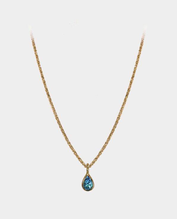 Halskæde med venezia design og indfattet dråbeformet himmelblå topas fra smykkebutik i Kbh C
