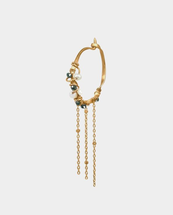 Exclusive creole earring in gold with blue diamonds and pearls and chains handmade as a small work of art from Copenhagen
