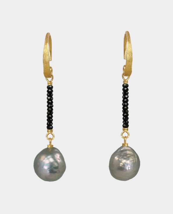 Retro earrings with black spinel and grey rustic beads in original handmade Scandinavian timeless jewelry design that give your look a touch of elegance when the light hits the gems